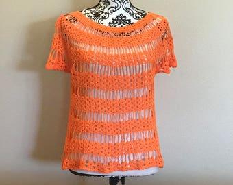 Orange crochet blouse, Short sleeves top, Spring Crochet, Crochet Beach Cover up, Summer Crochet,