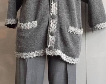 MOSCHINO CASHMERE front button grey cardigan size S-M
