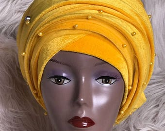 Beaded Double Turban with Mesh Net