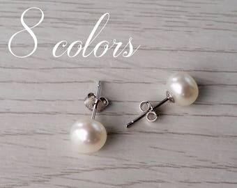 Boucles d'oreilles perles d'eau douce, authentiques puces en perles, perles blanches, clous d'oreilles, bijoux de perles, cadeau pour femme