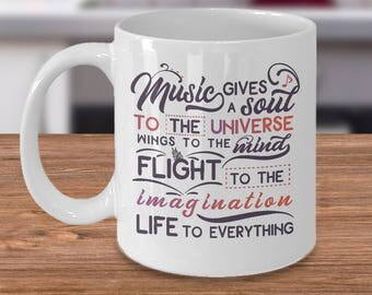 Unique Coffee Mugs, gift for him, gift for her, family gift ideas, gifts for music lover, inspirational music quotes, music, soul