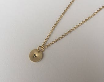 "Custom Stamped Initial Necklace - 16"" 14k Gold Plated"