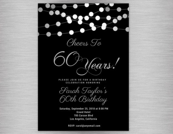 Cheers to 60 years any age 60th birthday invitations black and il570xn filmwisefo