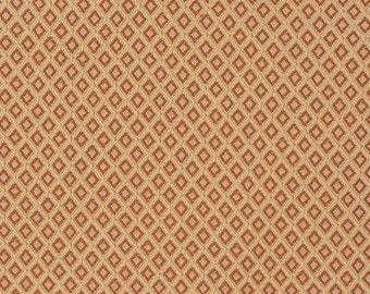 Diamond Pattern Jacquard in Golds and Reds - Eastern Accents Fabric