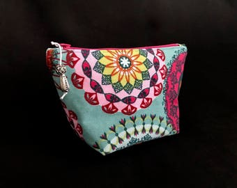 Cosmetic bag * flowers * make-up bag size S * flowers * beauty case-turquoise/Turqouise