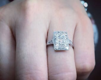 Art Deco platinum rectangular plaque ring with 22 diamonds