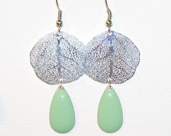 Prints with sequin Silver earrings