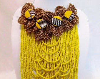 Bead neckalce with ankra buttons and matching ankara earrings