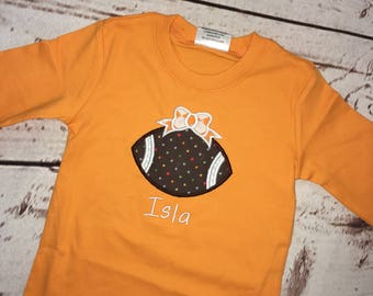 Infant Girls Football with Bow applique short or long sleeve shirt with name FREE SHIPPING