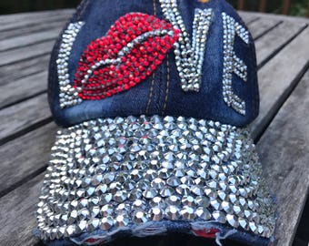 Love Rhinestone Embellished Denim Baseball Cap