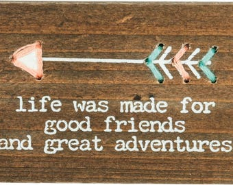 Adventures Stitched Wood Block/Magnet