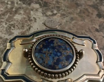 Vintage Sapphire and Gold Belt Buckle