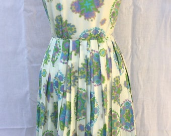 1960s Vintage Kaleidoscopic Rainbow Sleeveless Dress, Knife Pleat Skirt, Pastel Prismatic Pattern, Lightweight Drip Dry Easy Care Fabric