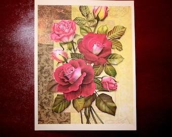 """ART PRINT of Red Roses 8 1/2"""" x 11"""""""