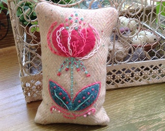 Wool embroidered pincushion