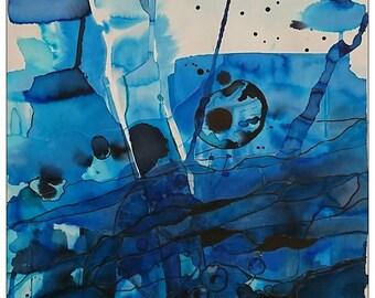 Depth, original watercolor painting, 58x42 cm