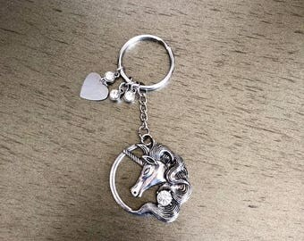 Unicorn and rhinestone keychain