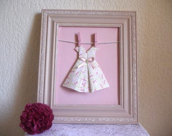 Blush Pink wooden frame and its origami dress