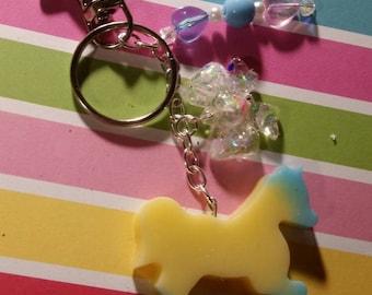 Pastel ombre unicorn key chain