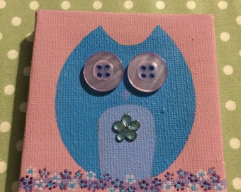 Small hand painted Owl 7.25cm x 7.25cm
