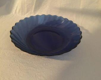Arcoroc, two blue soup bowls