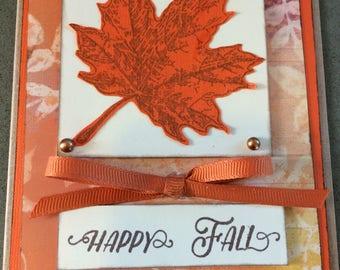 Happy Fall Greeting Card. Fall Leaf Greeting Card. Thanksgiving Greeting Card.  Autumn Greeting Card.