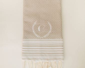 Thin Stripes Turkish Towel with Crest Monogram