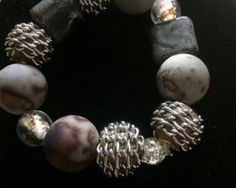 Chunky mixed media bracelet