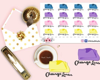 House Chores Reminder Stickers 2, Chores Planner Sticker, Change Linen Reminder Stickers, Scrapbook Sticker, Planner Accessory - 16 Stickers