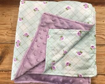 Mint & Lavender Floral Baby Girl Blanket