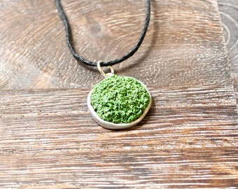 Green Moss Clay Necklace with Black Hemp Cord