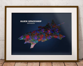 Graphics Spaceship, Spaceship Art, Alien Spaceship, Spaceship Wall Art, Spaceship Print, Spaceship Art Print, VehiKolor