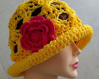 Sun Hat crochet Yellow Yellow sun hat