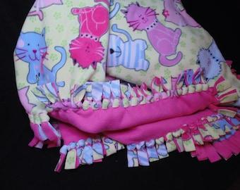 Double Layer Kids Fleece Blanket, Tied Edges, Kitty Pattern