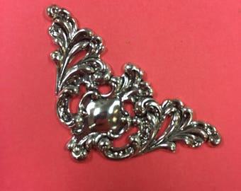 Small Silver Corner Piece filigree - set of 4