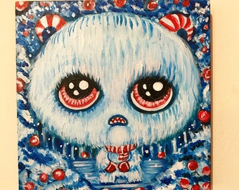 silly little winter yeti in the snowy forest original painting