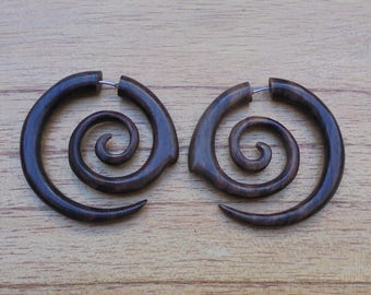Fake Gauge Earrings, Spiral Fake Earrings, Wood Fake Earrings, Wooden Accessories, Bali Jewelry, Sono 03