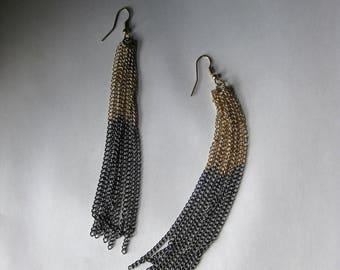 twotone chain dangle earrings shepard hooks