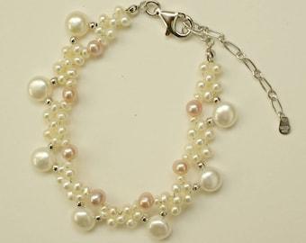 Pearl Wedding Bracelet, Sterling Silver Bridal Bracelet Fresh Water Pearls