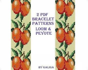 Apple bracelet pattern for Beading instructions Loom bracelet Fruit bracelet Peyote bracelet Apple pattern Fruit pattern Instant download