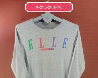 Vintage Elle Sweatshirt Long Sleeve Spellout Sweater Swoosh Gray Colour Comme des Garcons Homme Polo Ralph Lauren Shirts Polo Bear