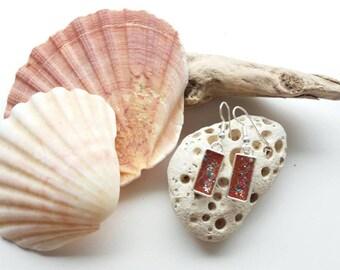 Autumn sparkle earrings, bronze earrings, resin jewellery, gift for her, rectangular earrings,