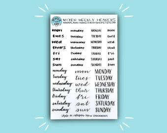Mixed Weekly Headers | Header Planner Sticker | Bullet Journal Stickers | Stickers for Planners, Journals and More | Journaling Supplies