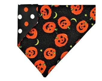 Halloween Dog Bandana –Sparkle Pumpkins and Polka Dots–Reversible–Slides on Collar