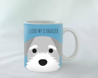 I Love my Schnauzer Mug personalised | Different colours available | Custom name mugs | Dog Mug | Schnauzer Gift