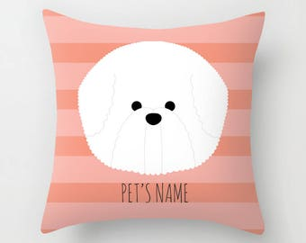 Bichon Frise Pillow, Bichon Frise Cushion, Decorative Bichon Frise Cushion - Dog Pillow, Dog Gift, Custom Dog Name Pillow