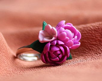 Peony bouquet ring, flower ring