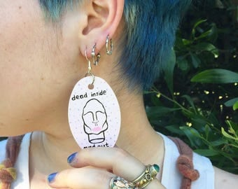 "Handpainted ""Dead inside and out"" earrings, original artwork"