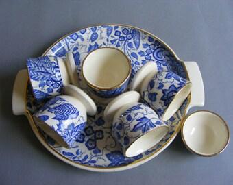 Wächtersbach Manila, 5 Egg Cups, Serving Plate, Small Salt Bowl