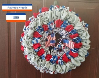 "Handmade 15"" patriotic cloth wreath"